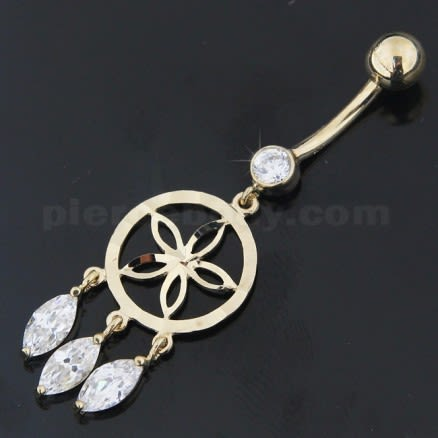 Jeweled Dangling 14K Old Look Gold Belly Ring
