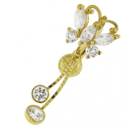 Small Jeweled Dangling Butterfly 14K Gold Navel Ring