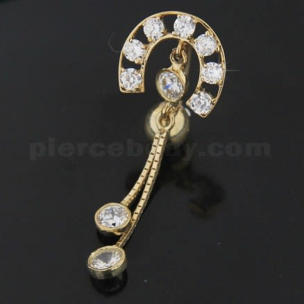 Fancy Jeweled Roman Design  Dangling 14K Gold Navel Ring