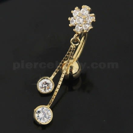 Flower Jeweled Dangling 14K Gold Body Jewelry Navel ring