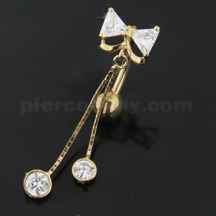 CZ Fancy Jeweled Dangling 14K Gold Navel Body Jewelry Ring