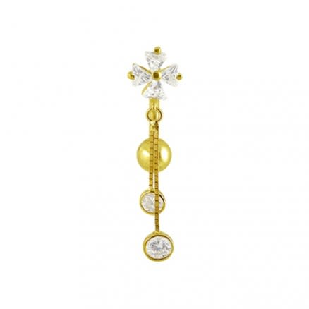 Fancy Jeweled Dangling 14K Gold Curved Bar Navel Ring