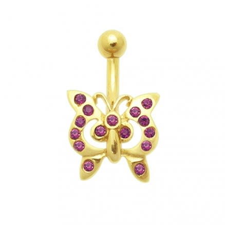 14K Gold Butterfly Belly Ring