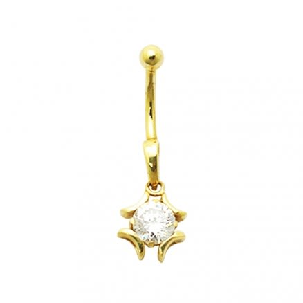 Jeweled Iron Cross 14K Gold Belly Ring