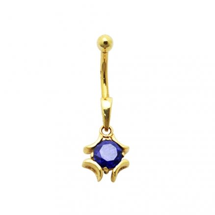 Jeweled 14K Gold Navel bar