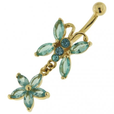 14K Gold Butterfly Dangling Belly Ring with Zirconia Stones