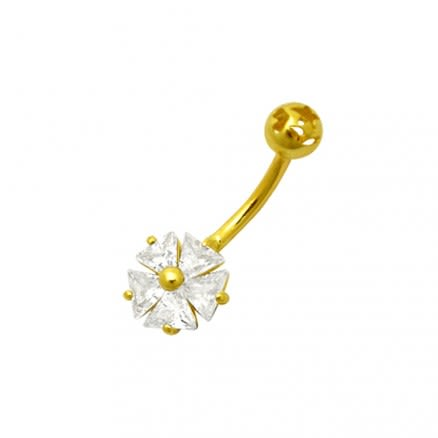 Jeweled Flower 14K Gold Banana Bar Belly Body Jewelry Ring 14KGN190CL