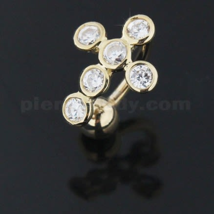 Jeweled Cross 14K Gold  Reverse Belly Ring