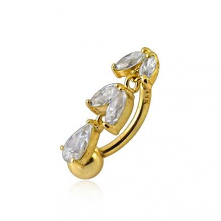 Jeweled Dangling 14K Gold navel Ring