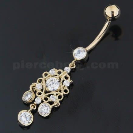 Zirconia Dangling Hollow Top 14K Gold Navel Ring