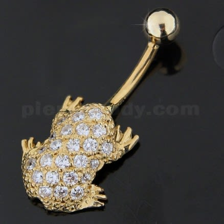 Frog Jeweled 14K Gold Belly Ring
