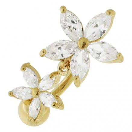 14K Gold Banana Bar Flower Dangling Jeweled Navel Ring Body Jewelry