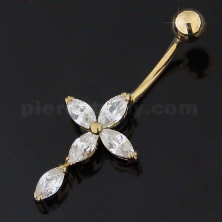 Jeweled 14K Gold Cross Banana Bar Navel Ring