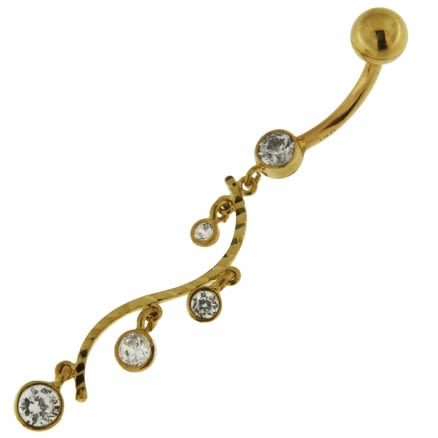 Dangling Jeweled Floral 14K Solid Yellow Gold Navel Belly Button Ring