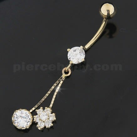 Flower Dangling 14K Gold Belly Ring With Zirconia