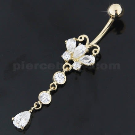 14K Gold Belly Ring Butterfly Dangling Jeweled