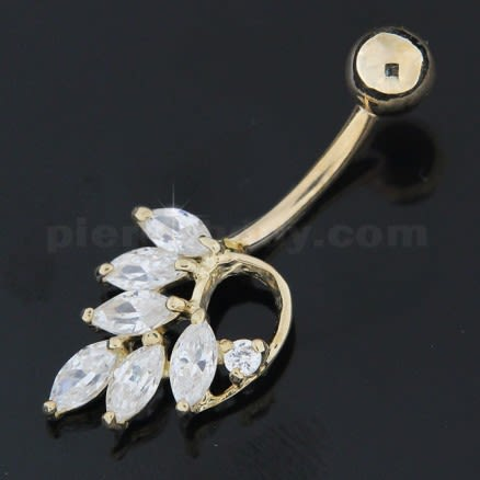 14K Soild Yellow Gold Jeweled Leaf Navel Belly Button Ring