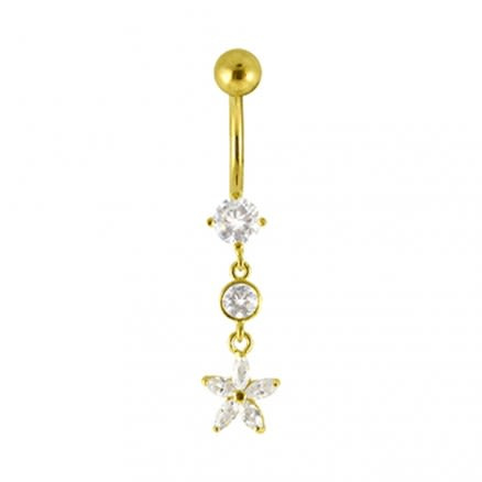 Flower Dangling Jeweled 14K Gold Banana Bar Navel Ring
