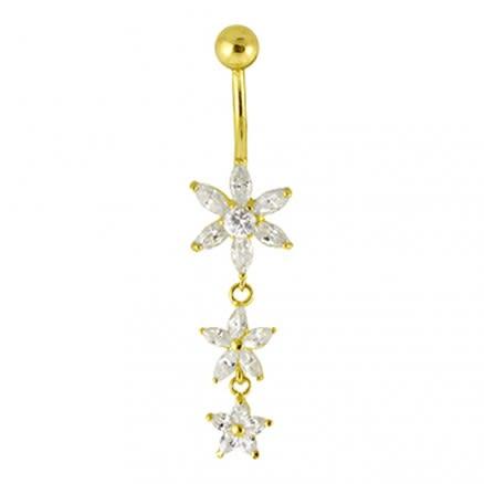 Multi Flower Dangling Jeweled 14K Gold Navel Ring