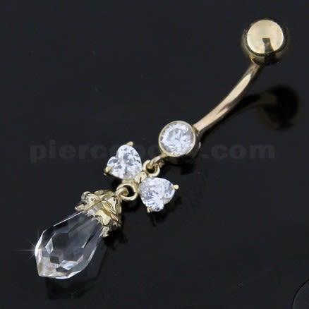 CZ Stone With 14K Gold Curved Navel Ring Body Jewelry