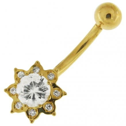 14K Gold Flower Shaped Jeweled Belly Ring
