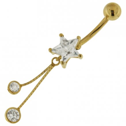 14K Gold Star Shaped Jeweled Dangling Belly Ring