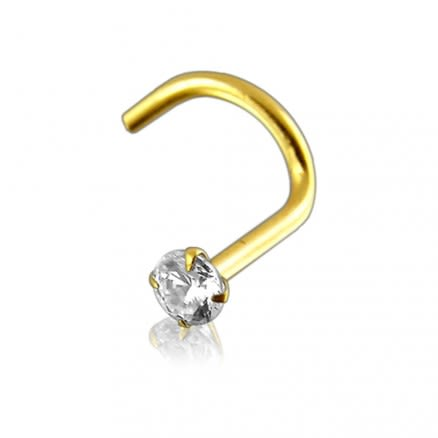 Genuine DIAMOND 14K Gold with Nose Screw