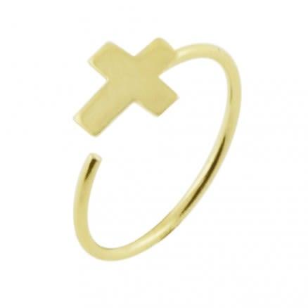Hoop Nose Ring - 14K Gold Cross Open