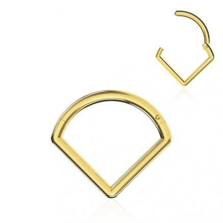 14K Solid Gold Triangle Hinged Segment 18G Septum Clicker Ring