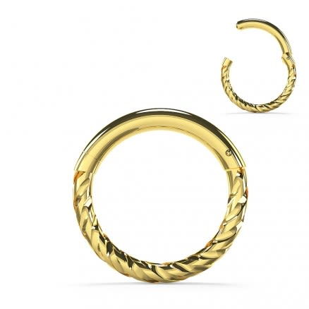 9K Solid Gold Twisted 18G Hinged Segment Clicker Ring