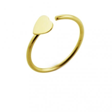 14K Gold Heart Open Gold Nose Hoop