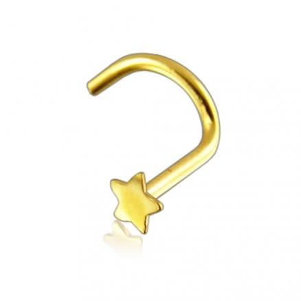 14K Gold Plain Star Nose Screw