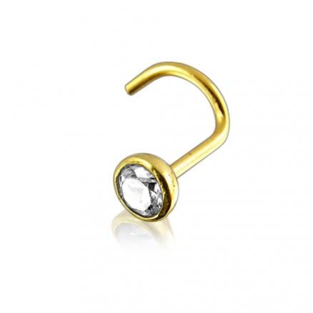14K Gold Bezel set Jeweled Nose Screw