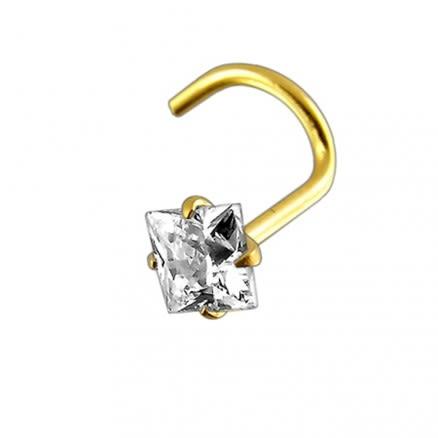 14K Gold Square CZ Jeweled Nose Screw