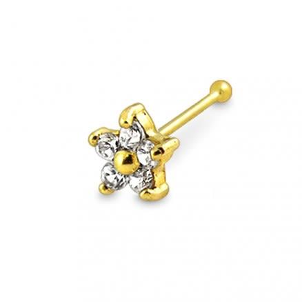 14K Gold Jeweled Nose Pin