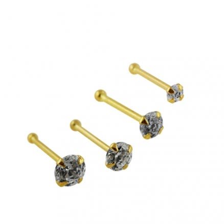 14K Gold Round Jeweled Ball End Nose Pin