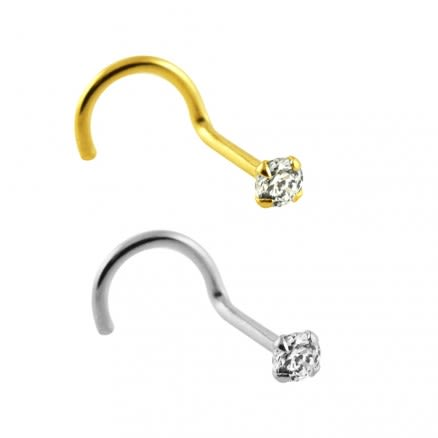 14K Gold CZ Prong Set Nose Pin