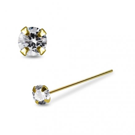 14K Gold Prong Setting Clear CZ Nose Stud  22G Straight End Nose Pin