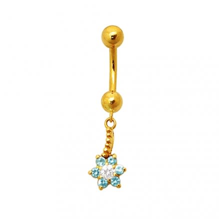 Jeweled Flower Dangling 18K Gold Belly Ring