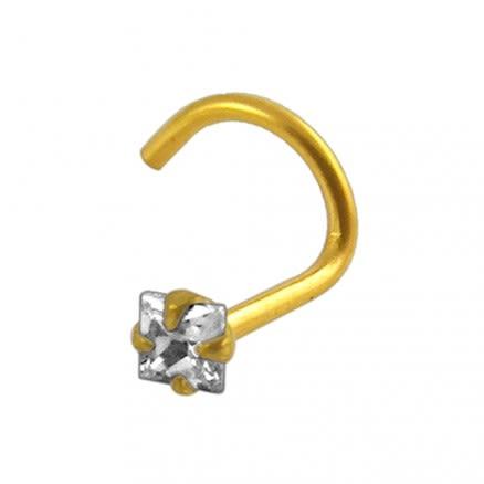 18K Gold Jeweled Nose Screw