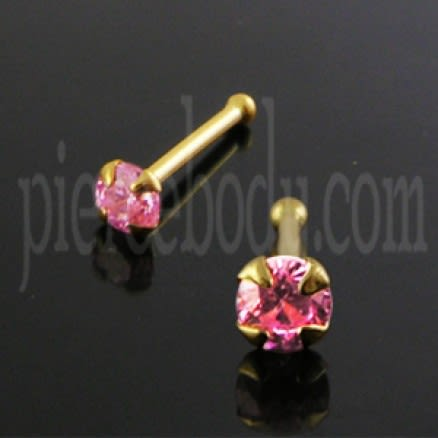 14K Gold Ball End Jeweled Nose Pin