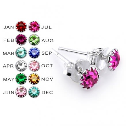 4MM Flower Set  Birthstone Earring