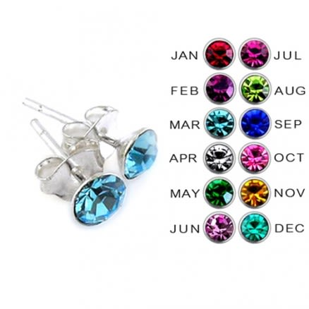 4MM Round Stone Birthstone Earring