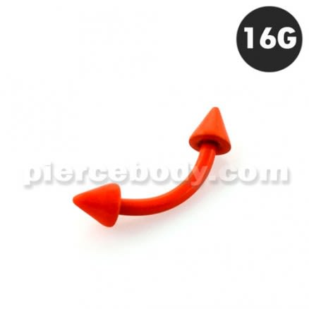 Neon Orange 316L Surgical Steel Curved Barbells with Cone
