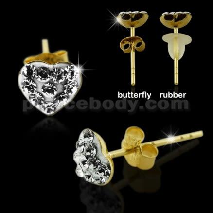 9K Gold Multi Jeweled Heart Ear Stud