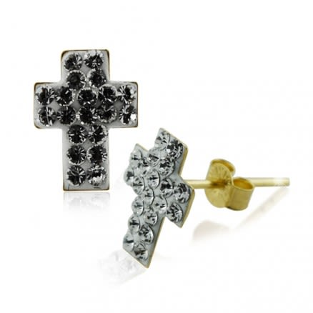 9K Gold Multi Jeweled Cross Ear Stud