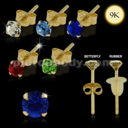 9K Gold 3mm Round Crystal Jeweled Ear Stud