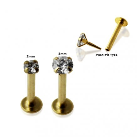 9K Gold Internal Lip Labret with Round Jeweled Top