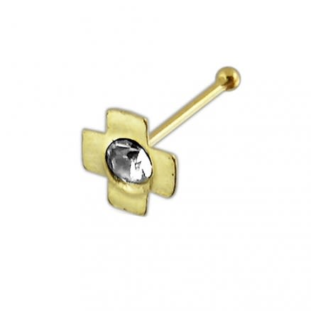 9K Jeweled Cross Ball End Nose Pin