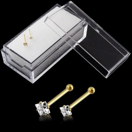 9K Solid Yellow Gold Nose Bone Stud with Square CZ in Box
